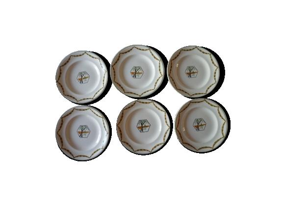2 Lots de 6 assiettes plates porcelaine Longwy art déco