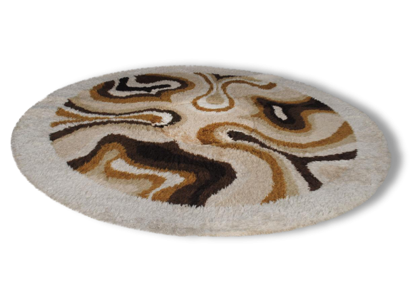desso tapis rond design vintage 1970 en laine tissu beige dans son jus vintage 162357. Black Bedroom Furniture Sets. Home Design Ideas