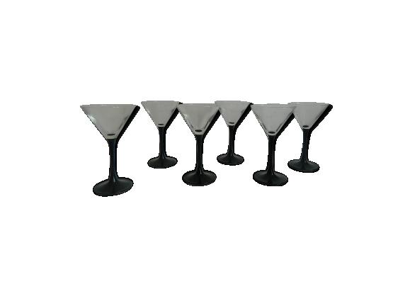 Set de 6 coupes à champagne pied noir made in France année 70