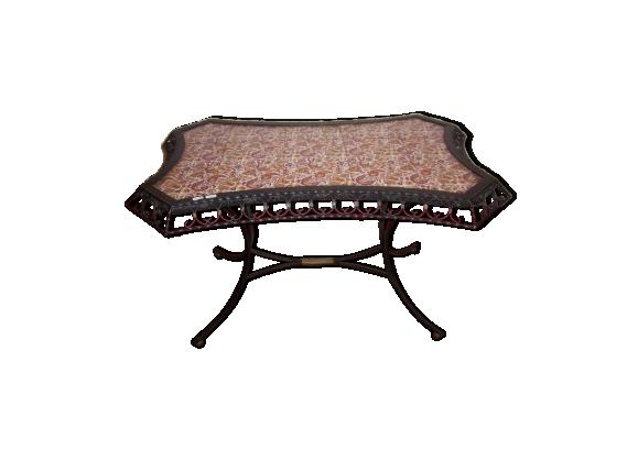 table de salon de 1950 en fer forg et carrelage m tal noir bon tat vintage. Black Bedroom Furniture Sets. Home Design Ideas