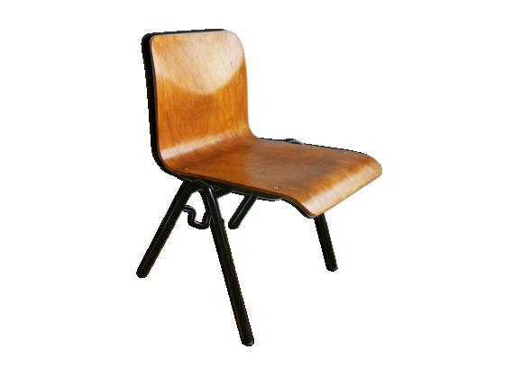 chaise d 39 cole 1960 bois mat riau marron bon tat vintage. Black Bedroom Furniture Sets. Home Design Ideas