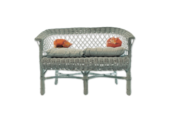 canap en rotin pour enfant sista rotin et osier vert bon tat vintage. Black Bedroom Furniture Sets. Home Design Ideas