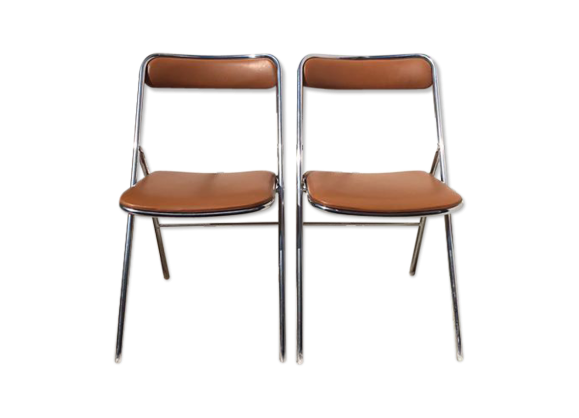 lot de 2 chaises plichaise soditex made in france m tal marron bon tat vintage. Black Bedroom Furniture Sets. Home Design Ideas