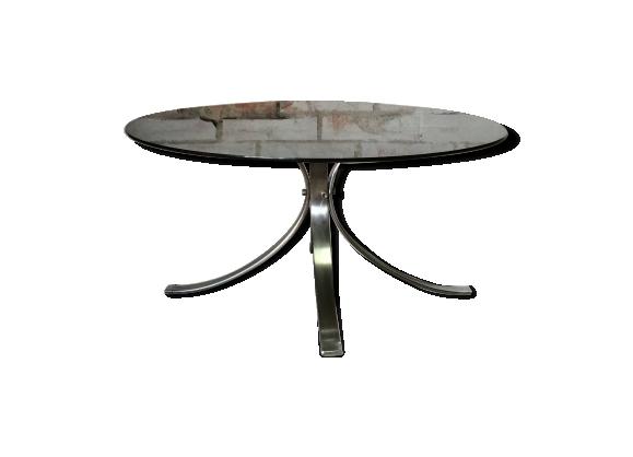 Table basse ronde inox chromé et verre fumé