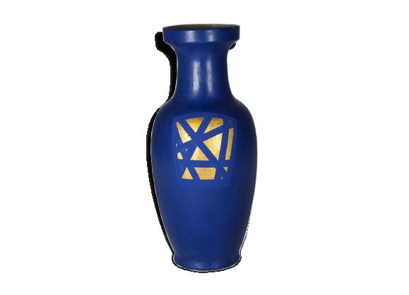 grand vase en porcelaine peint bleu et or c ramique porcelaine fa ence bleu bon tat. Black Bedroom Furniture Sets. Home Design Ideas
