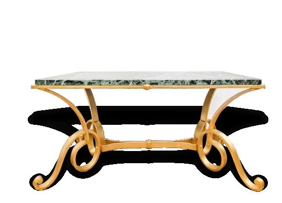 Table Basse fer forgé doré et marbre vert