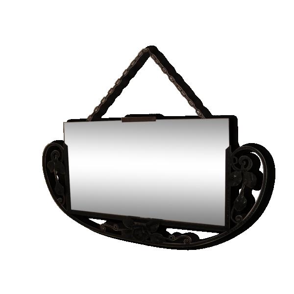 Ancien grand miroir fer forg art d co d cor roses fer for Miroir fer forge noir