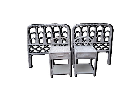 chevet rotin achat vente de chevet pas cher. Black Bedroom Furniture Sets. Home Design Ideas