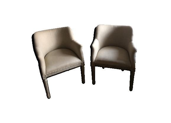 Paire de fauteuils jacquard chêne