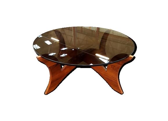 Table basse Hugues Poignant piétement plaquage de bois et plateau en verre fumé