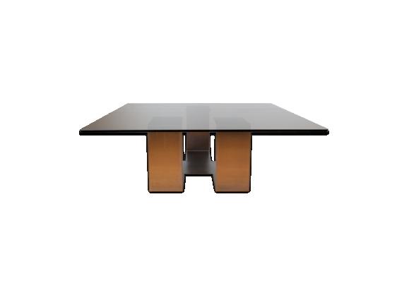 Table basse en verre et acier poli 1970