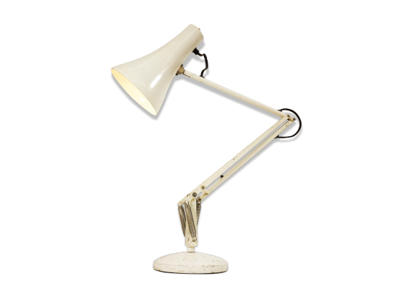 lampe de bureau anglepoise 1960 39 s m tal blanc dans son jus industriel. Black Bedroom Furniture Sets. Home Design Ideas