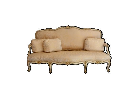 Canapé d'époque Louis XV en bois laqué et doré | XVIIIe siècle