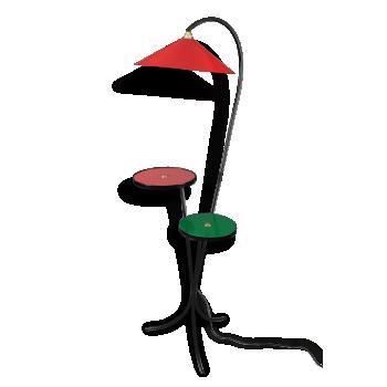 Lampadaire 1950 à deux tablettes rouge et vert