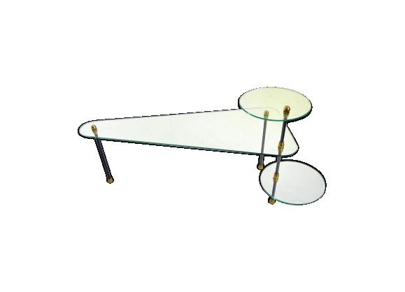 Table basse en verre et métal à plateaux modulables