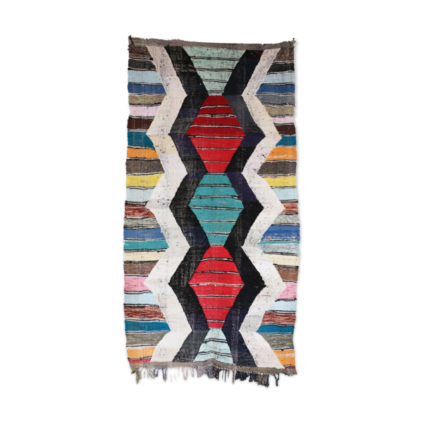 Boucherouite Rug Vintage Moroccan Tapis Berber Mid
