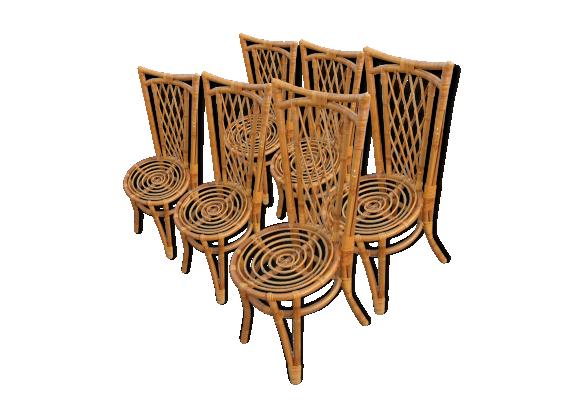 lot de 6 fauteuils chaise 1960 en bambou design scandinave rotin et osier beige bon tat. Black Bedroom Furniture Sets. Home Design Ideas