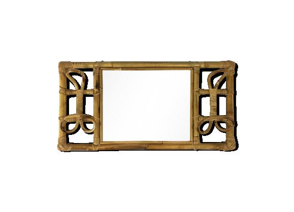 Porte manteau et miroir en bambou 1950 1960 rotin et for Mini miroir rotin