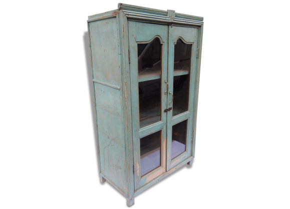 buffet vaisselier teck metal patine art deco meuble indien inde bois mat riau bleu. Black Bedroom Furniture Sets. Home Design Ideas