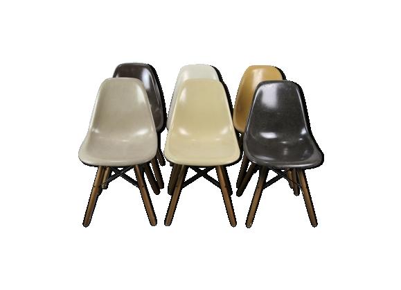 Lot de 6 chaises DSW par Charles et Ray Eames pour Herman Miller