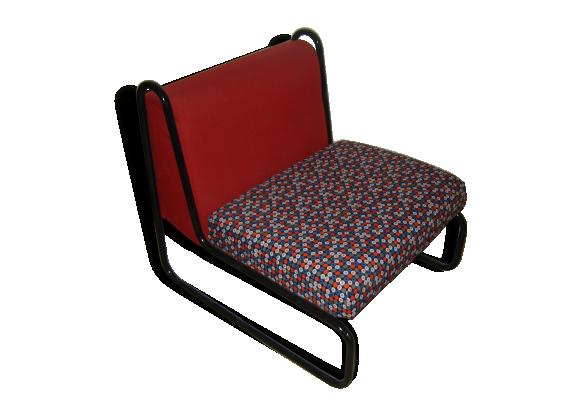 fauteuil chauffeuse vintage ann es 70 tissu rouge bon tat vintage 22947. Black Bedroom Furniture Sets. Home Design Ideas
