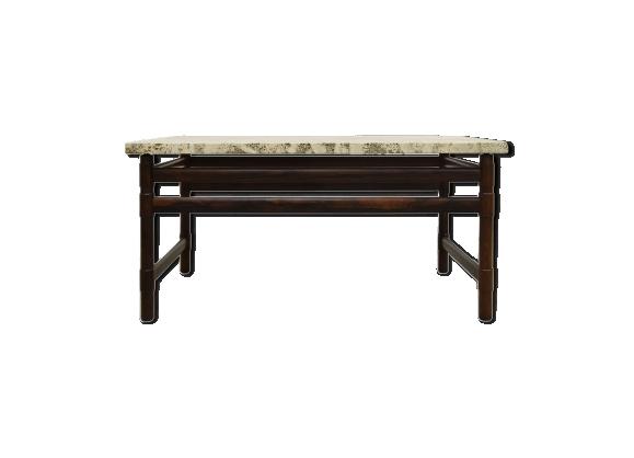 Table basse en palissandre massif et travertin 1960s