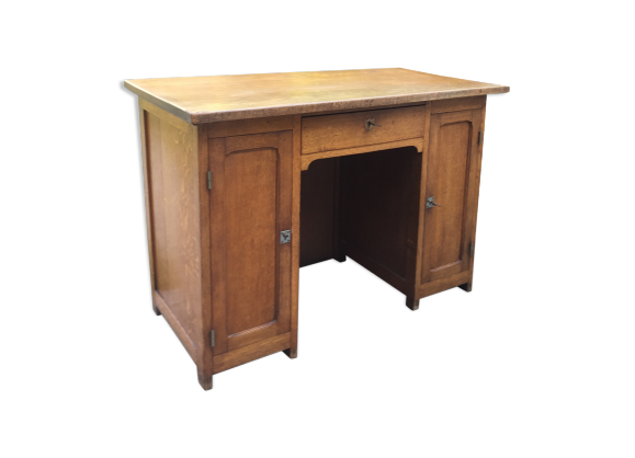 bureau 1940 1950 en ch ne bois mat riau bois couleur bon tat vintage. Black Bedroom Furniture Sets. Home Design Ideas