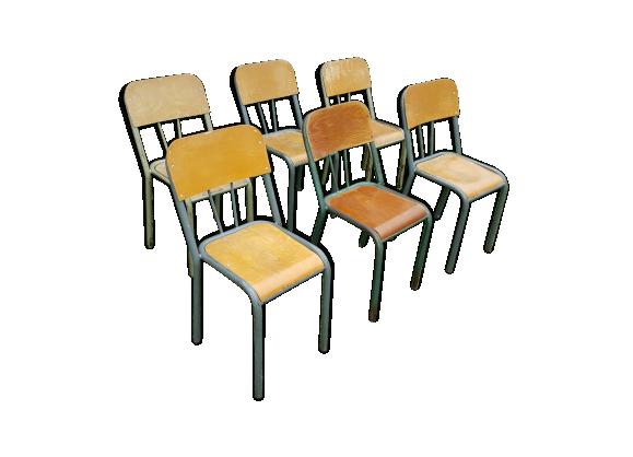 Lot de 6 chaises d 39 ecoliers en bois et m tal m tal vert bon tat - Lot de 6 chaises en bois ...