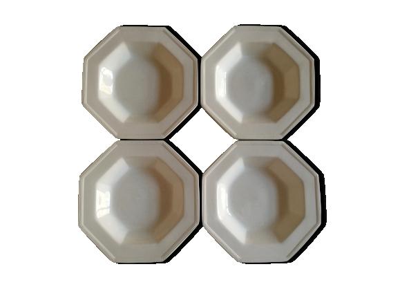 Série de 4 assiettes creuses ironstone perles Johnson Brothers England