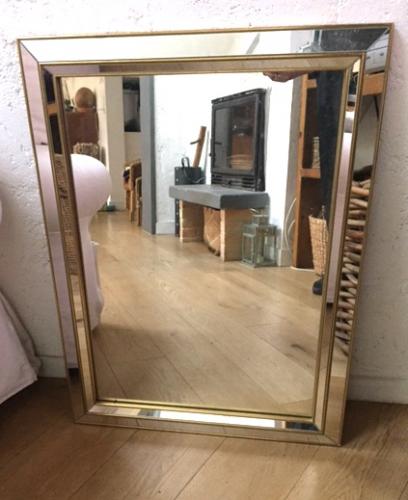 miroir rectangulaire art d co ann es 50 verre et cristal dor bon tat art d co. Black Bedroom Furniture Sets. Home Design Ideas