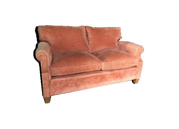 Canap en velours tissu rose bon tat vintage - Canape en velours ...
