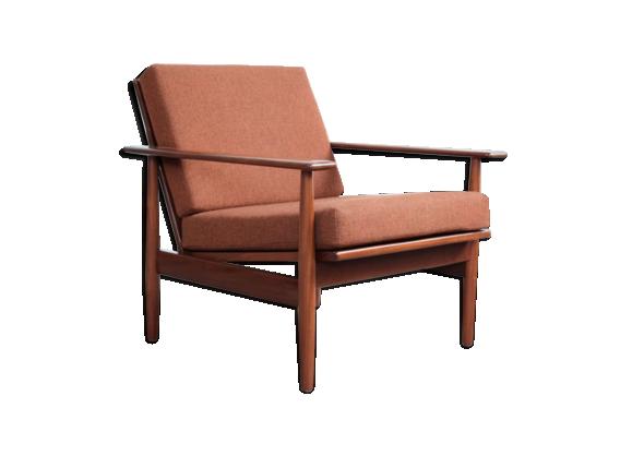 fauteuil danois en teck et tissu hallingdal original. Black Bedroom Furniture Sets. Home Design Ideas