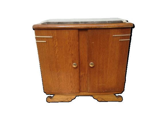 Table de chevet art d co bois plateau marbre ann e 40 - Table de chevet marbre ...