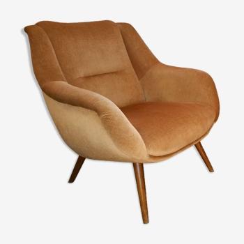 Fauteuil sculptural vintage années 50 60 cuivré et restauré