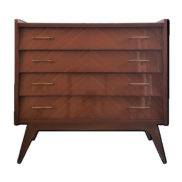 commode pieds compas bois mat riau marron bon tat vintage. Black Bedroom Furniture Sets. Home Design Ideas
