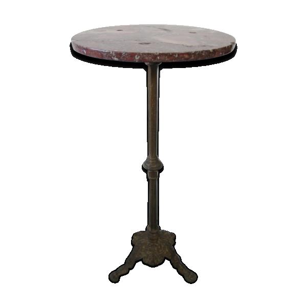 Petite table de bistro antique en fer forg marbre - Petite table en fer forge ...