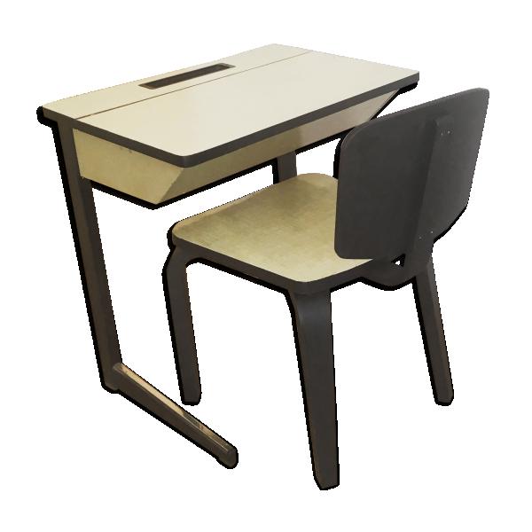 Ensemble bureau et chaise formica formica jaune bon for Chaise formica