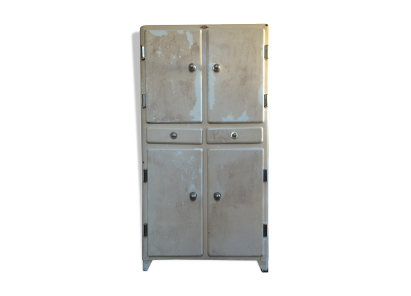 armoire de cuisine vintage en m tal ann es 50 m tal blanc dans son jus industriel. Black Bedroom Furniture Sets. Home Design Ideas
