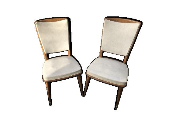 Chaise cuir vintage for Chaise en bois et cuir