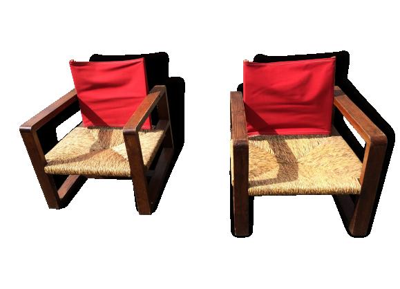 paire de fauteuils des ann es 50 toile rouge vintage scandinave rotin bois mat riau bois. Black Bedroom Furniture Sets. Home Design Ideas
