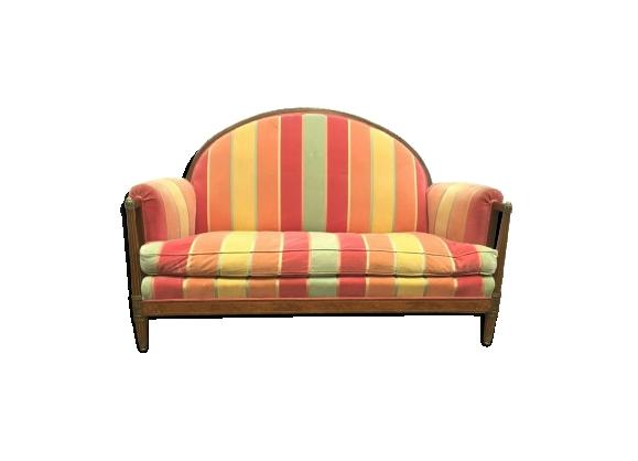 Canapé art nouveau piétement marqueté banquette trois places