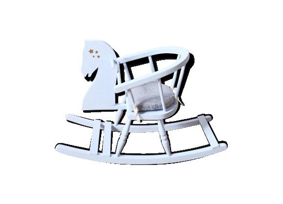 cheval bascule ancien bois mat riau bleu bon tat vintage. Black Bedroom Furniture Sets. Home Design Ideas