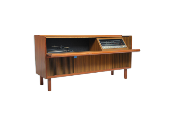 meuble platine vinyles hifi teck bois couleur dans son jus vintage. Black Bedroom Furniture Sets. Home Design Ideas