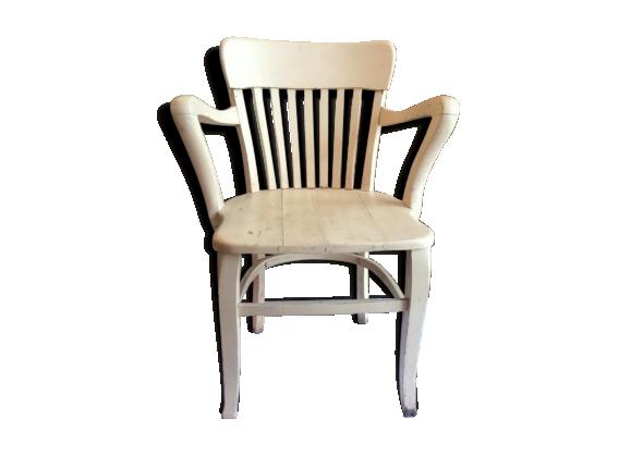 fauteuil de bureau en bois massif bois mat riau blanc dans son jus classique. Black Bedroom Furniture Sets. Home Design Ideas