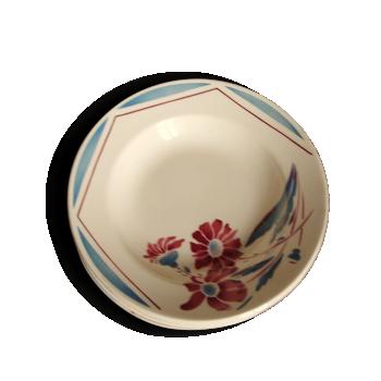 Lot Assiettes Creuses   Badonviller Demi Porcelaine 1923   Sapoluxe Fleurs Bleu Rouge Art Deco
