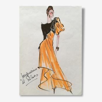Croquis de mode de la grande styliste Jacqueline de Ribes