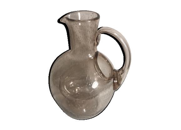 Carafe verseuse en verre soufflé bullé