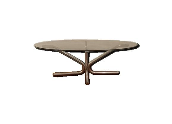 Table basse ovale acier tubulaire chromé verre fumé design