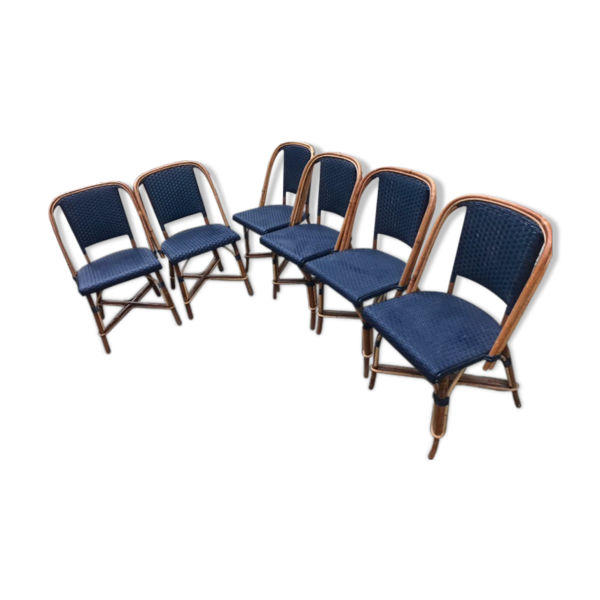 lot de 8 chaises et une banquette maison gatti rotin et osier bleu bon tat classique. Black Bedroom Furniture Sets. Home Design Ideas
