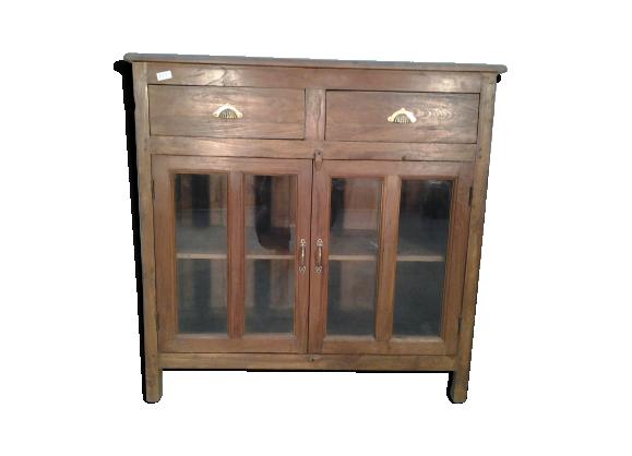 buffet bas vitr avec deux tiroirs bois mat riau bois couleur bon tat classique. Black Bedroom Furniture Sets. Home Design Ideas